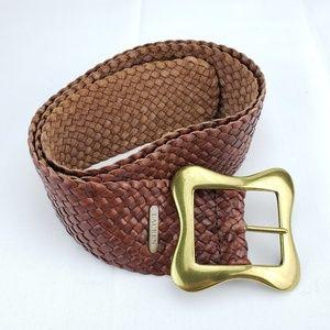 LAUREN Leather Solid Brass Western Wide Woven Belt